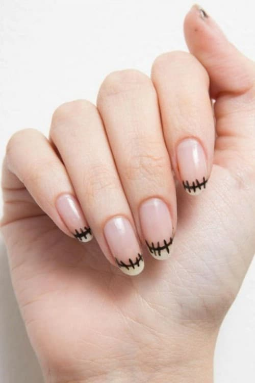 Simple Stitched French Manicure