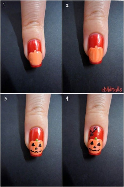Cute DIY Jack-O-Lantern Nails