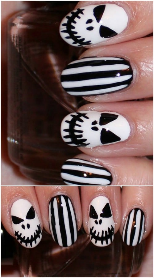 Jack Skellington Inspired Nail Art