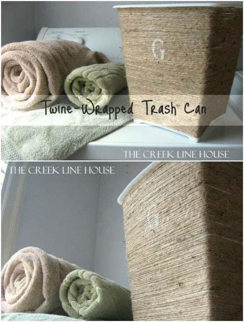 DIY Twine Wrapped Trashcan