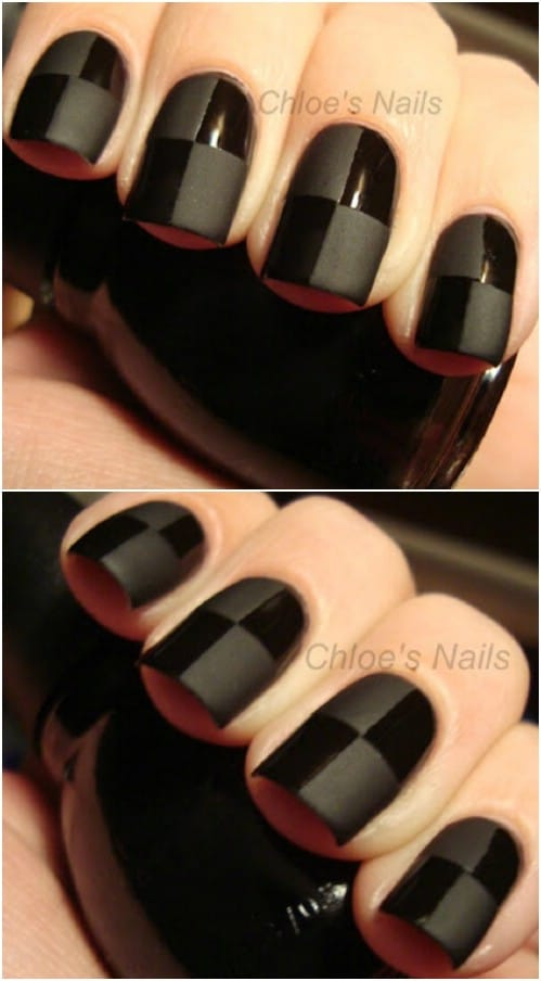 Elegant Black On Black Checkered Nails