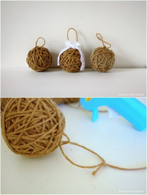 Twine Wrapped Christmas Ornaments