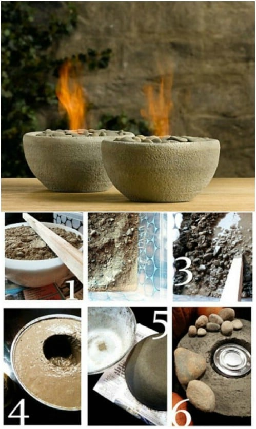 Relaxing DIY Concrete Fire Bowls