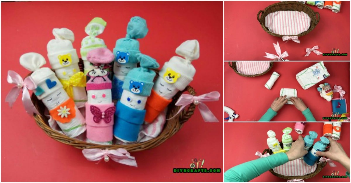 "How to Make an Adorable ""Diaper Baby"" Basket - Baby Shower Gift Idea"