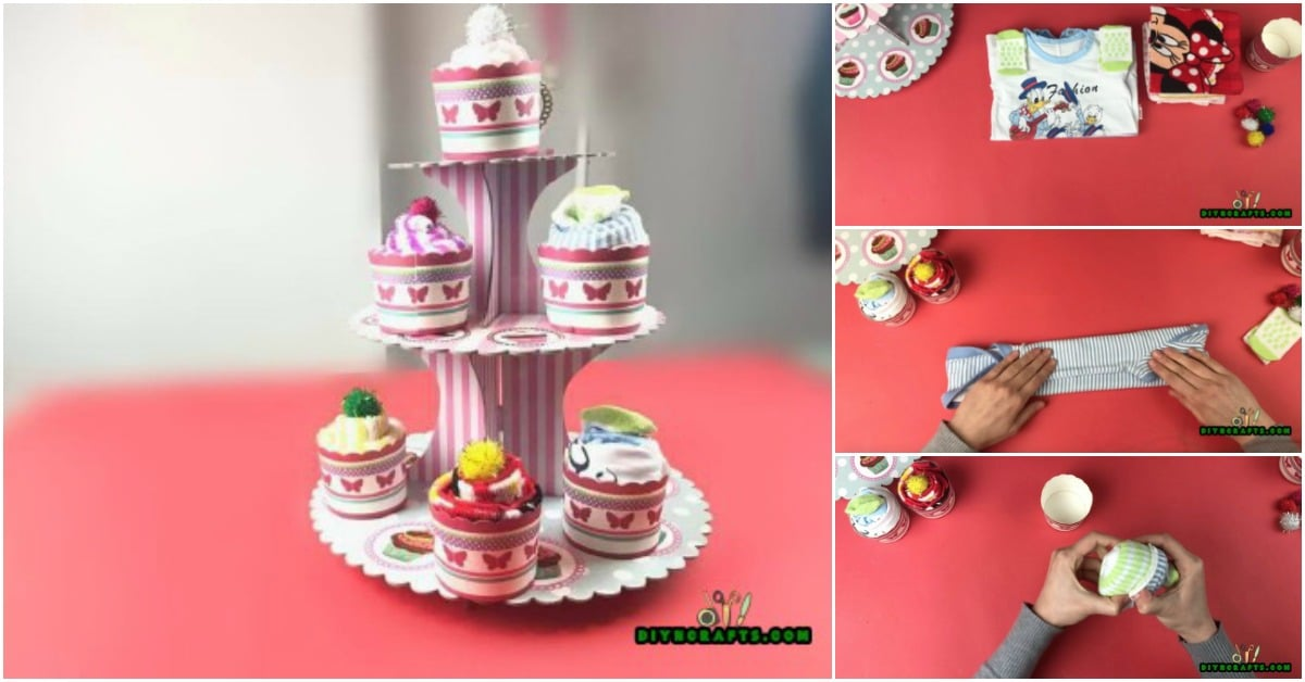 How To Make Cute Diy Baby Shower Cupcakes Out Of Baby Clothes Diy Crafts