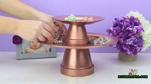 How to Make a Gorgeous Jewelry Holder Out of a Couple of Pots and Trays