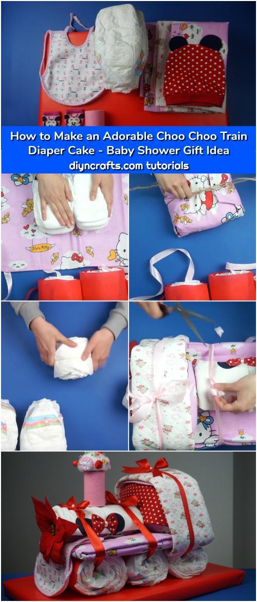 How to Make an Adorable Choo Choo Train Diaper Cake - Baby Shower Gift Idea  - DIY & Crafts