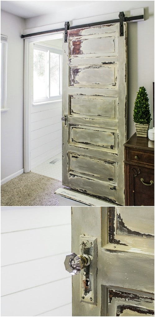 Distressed Wood Barn Door in the Master Bedroom