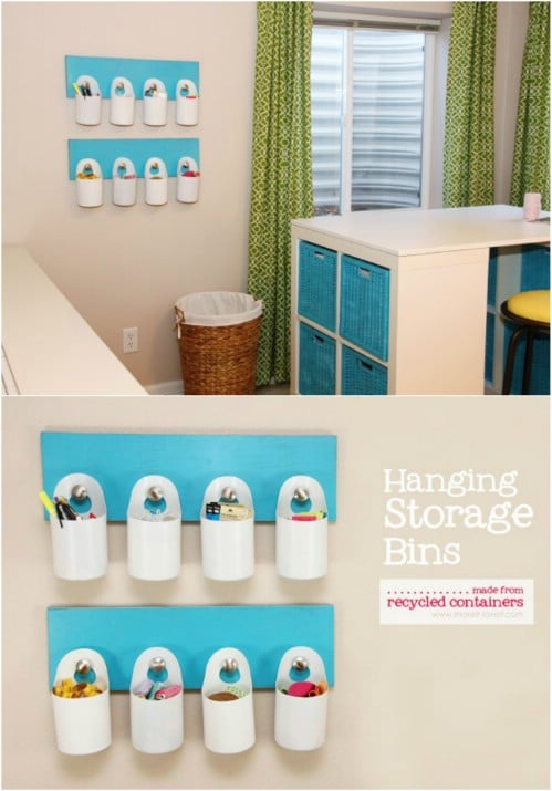 Behind The Door Recycling Station - 20 DIY Home Recycling Bins That Help You Organize Your Recyclables