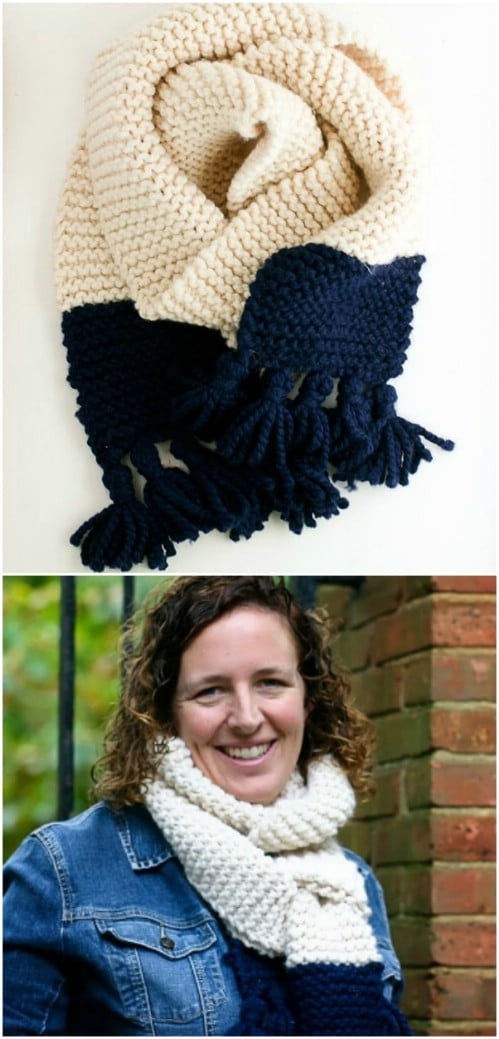 DIY Long Knit Tassel Scarf