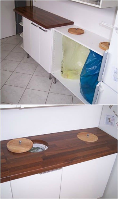 IKEA Cupboard Recycling Center Hack - 20 DIY Home Recycling Bins That Help You Organize Your Recyclables