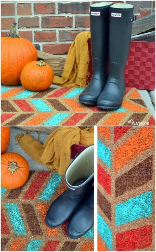 DIY Fall Herringbone Doormat