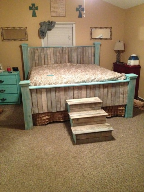 This bed in rustic teal is absolutely enchanting.
