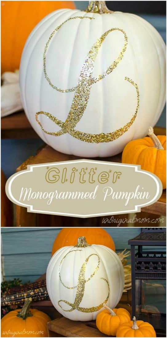 DIY Glittery Monogram Pumpkins