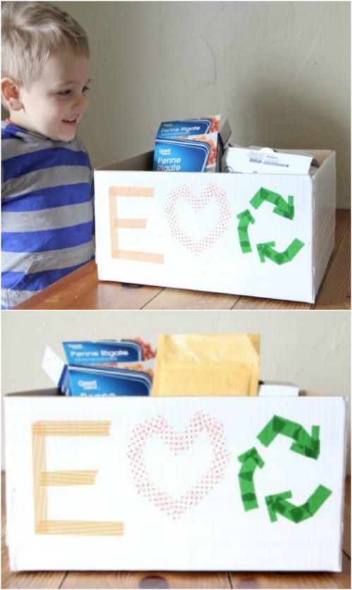 DIY Kid-Friendly Recycling Station - 20 DIY Home Recycling Bins That Help You Organize Your Recyclables