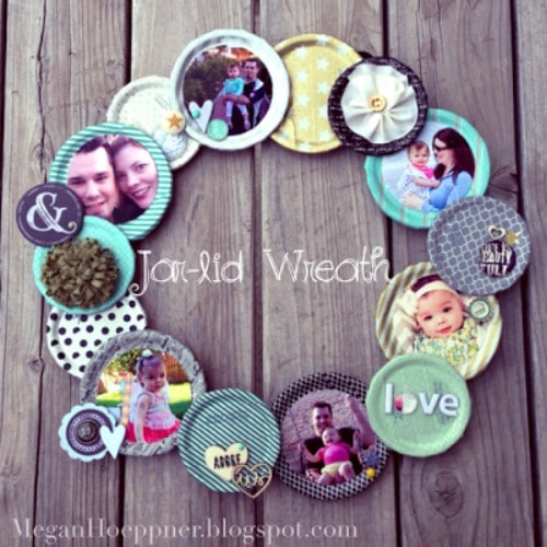 DIY Photo Jar Lid Wreath