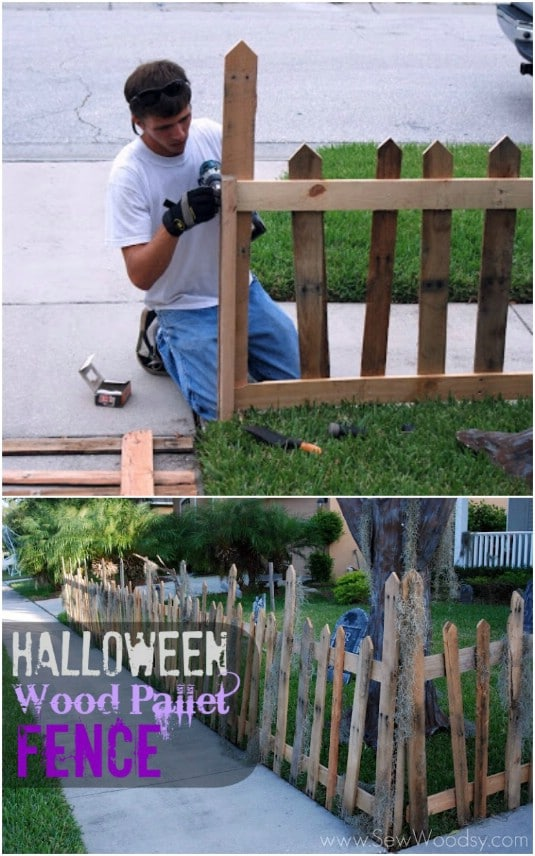 Spooky Graveyard Plank Fence - 25 Fantastic Reclaimed Wood Halloween Decorations For Your Home And Garden