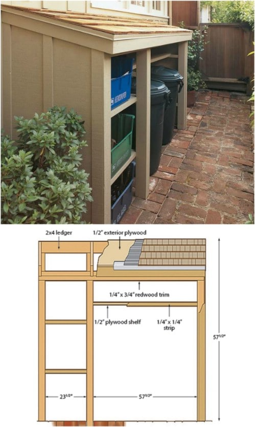 DIY Outdoor Hidden Recycling Station - 20 DIY Home Recycling Bins That Help You Organize Your Recyclables