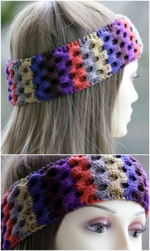Multi-Colored Honeycomb Knit Headband