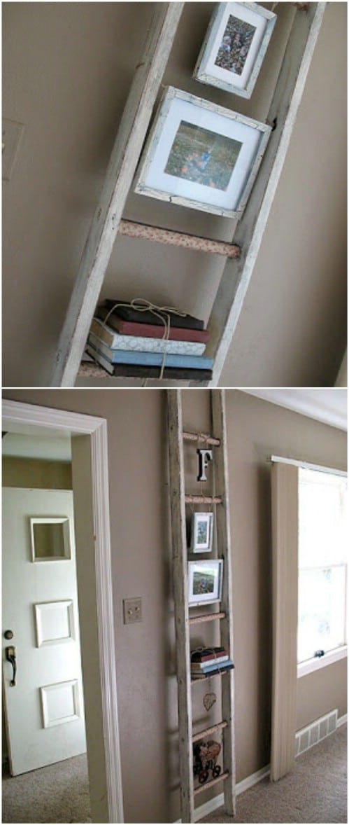 DIY Rustic Ladder Photo Display