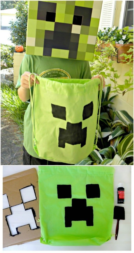 DIY Minecraft Creeper Backpack Bag