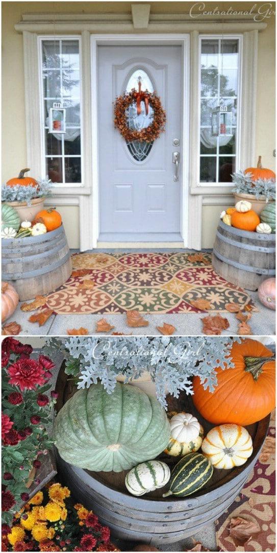 Jewel Toned Flowers And Pumpkins