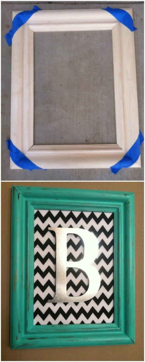 Use teal to frame a monogram.