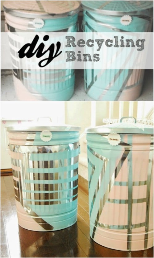 Repurposed Metal Trash Can Recycling - 20 DIY Home Recycling Bins That Help You Organize Your Recyclables