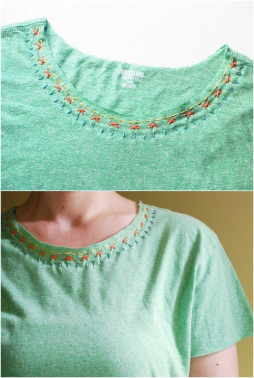 Embellish a tee with stitching.