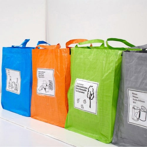Upcycled Shopping Bag Recycling Bins - 20 DIY Home Recycling Bins That Help You Organize Your Recyclables