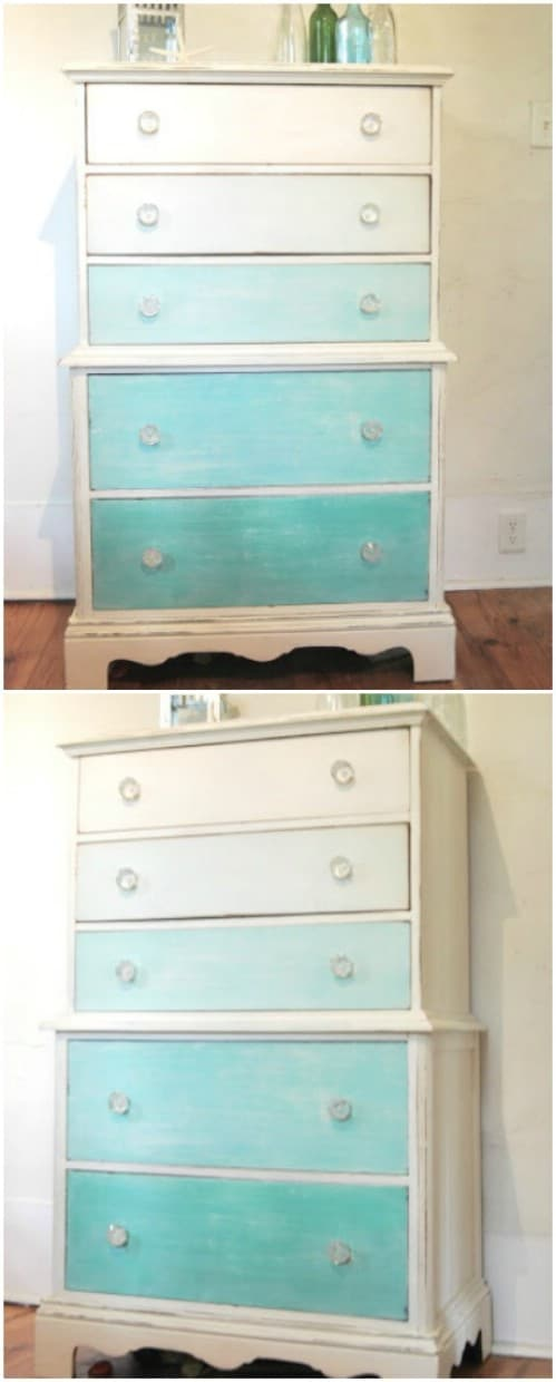 Give a dresser a beach vibe by painting it in ombre teal colors.