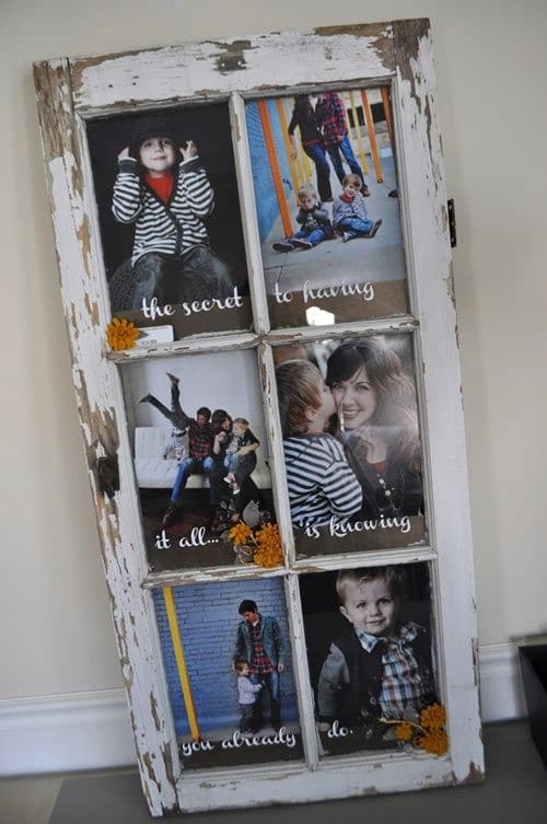 Repurposed Window Photo Display