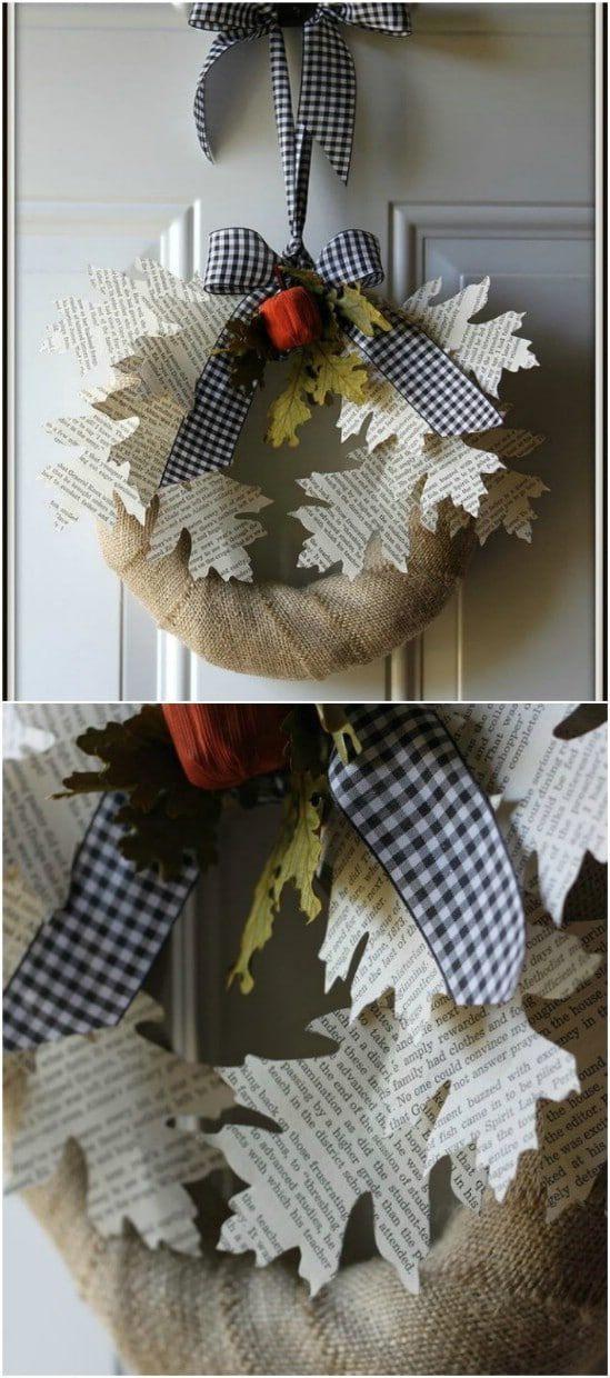 Book Page Leaf Wreath