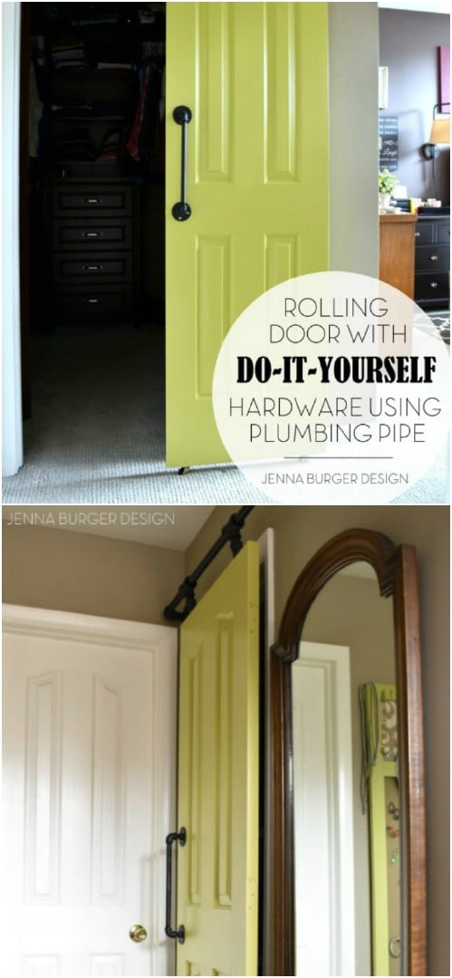 Make a Barn Door and Track Using Plumbing Pipes