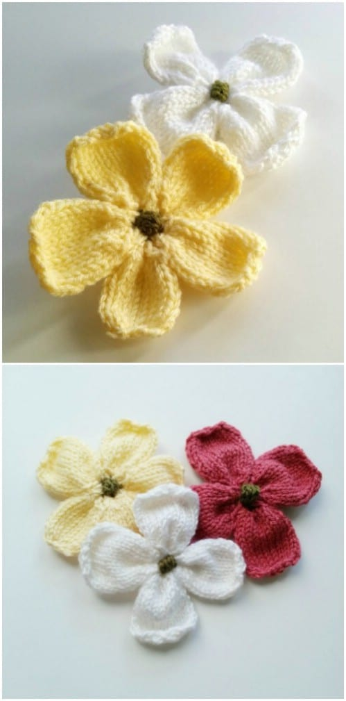 Gorgeous DIY Knit Dogwood Blossoms