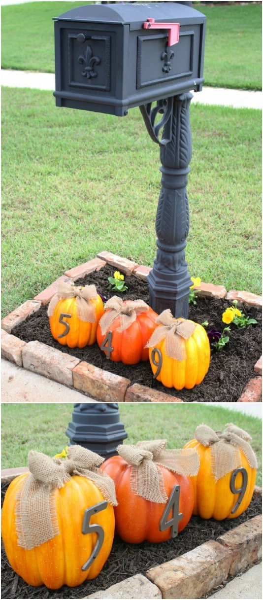 Cheap DIY House Number Pumpkins