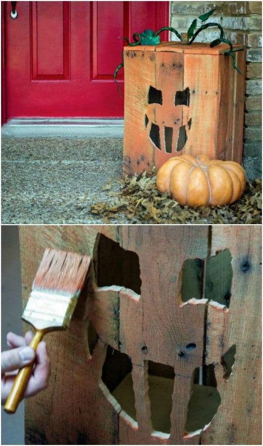 Reclaimed Wood Jack-O-Lantern Box - 25 Fantastic Reclaimed Wood Halloween Decorations For Your Home And Garden