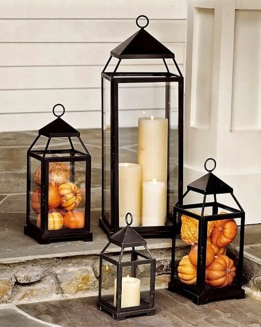 Pumpkin Filled Outdoor Lanterns