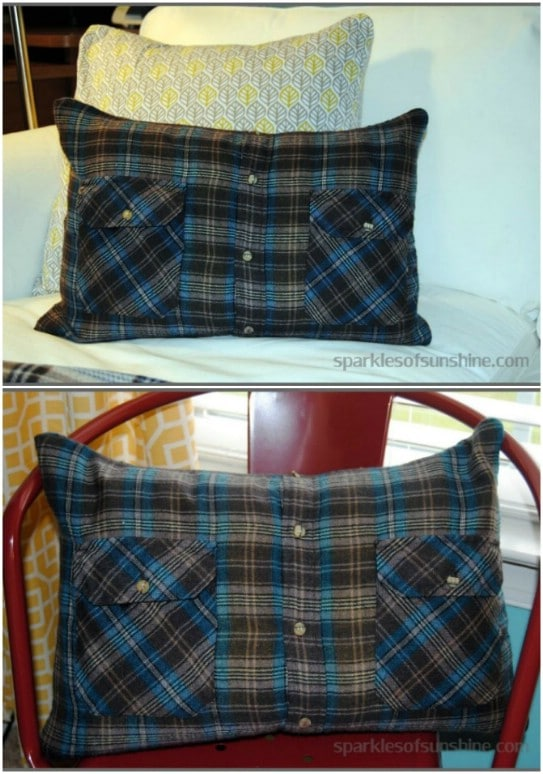 DIY Flannel Shirt Pillow Covers