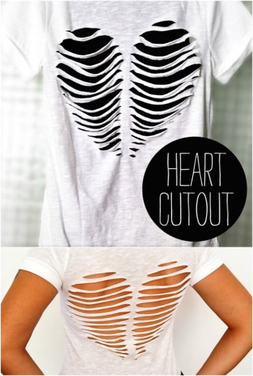 Cute a heart pattern into a T-shirt.