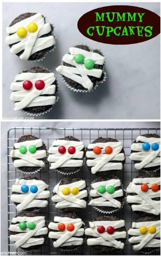 Easy Halloween Mummy Cupcakes