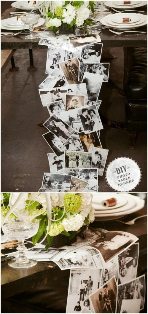 DIY Reception Table Photo Runner