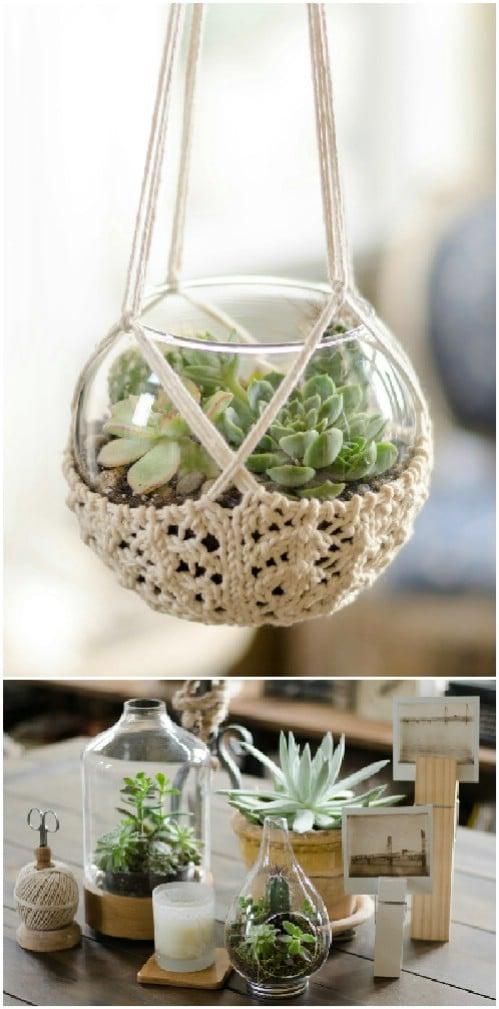 Easy Hand Knitted Terrarium Hanger