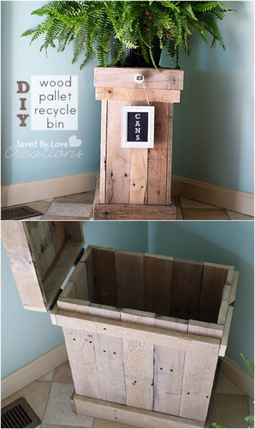 Upcycled Wooden Pallet Recycling Bin - 20 DIY Home Recycling Bins That Help You Organize Your Recyclables