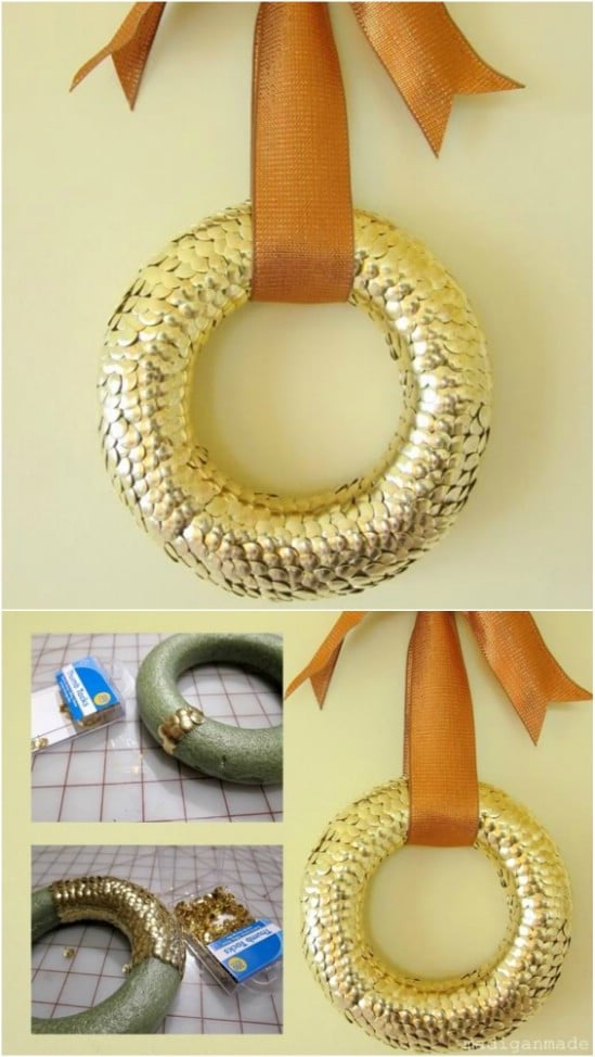 Elegant Gold Thumbtack Wreath