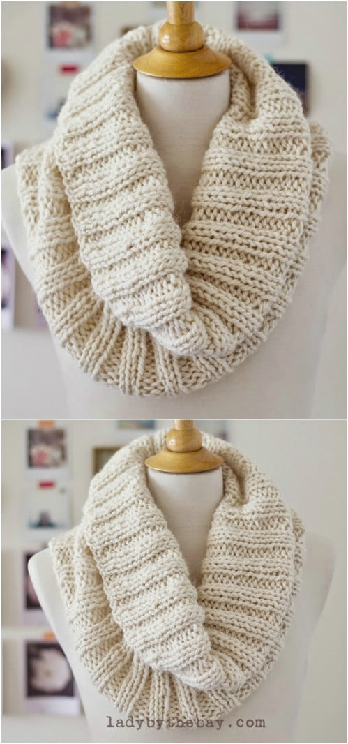 DIY Knit Ribbed Scarf
