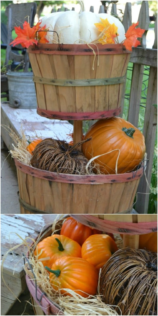 DIY Bushel Basket Tiered Planter