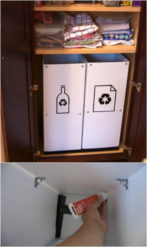DIY Pantry Recycling Center - 20 DIY Home Recycling Bins That Help You Organize Your Recyclables