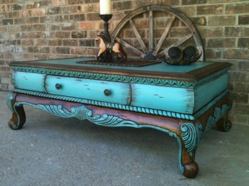 Turquoise and dark walnut work beautifully together.