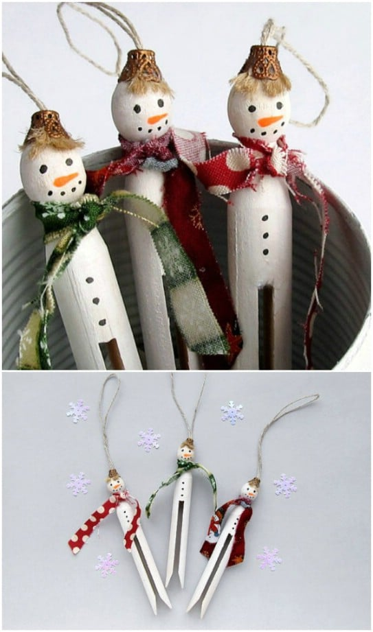Upcycled Wooden Clothespin Snowmen
